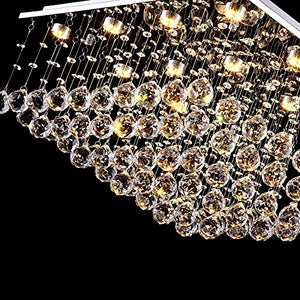 "7PM W24"" X H13"" Square Rain Drop Clear LED K9 Crystal Chandelier"