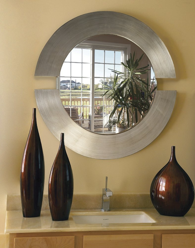 Howard Elliott Orbit Mirror, Hanging Beveled Round Wall Mirror, Brushed Silver Leaf