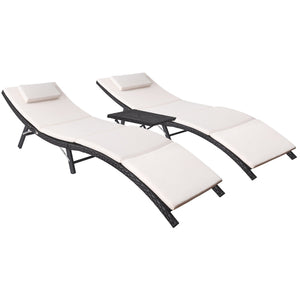 Flamaker 3 Pieces Patio Chaise Lounge with Cushions and Table Modern Outdoor Furniture Set All-Weather PE Wicker Rattan Backrest Lounger Chair for Beach, Pool, Yard,Porch (3 Pieces)