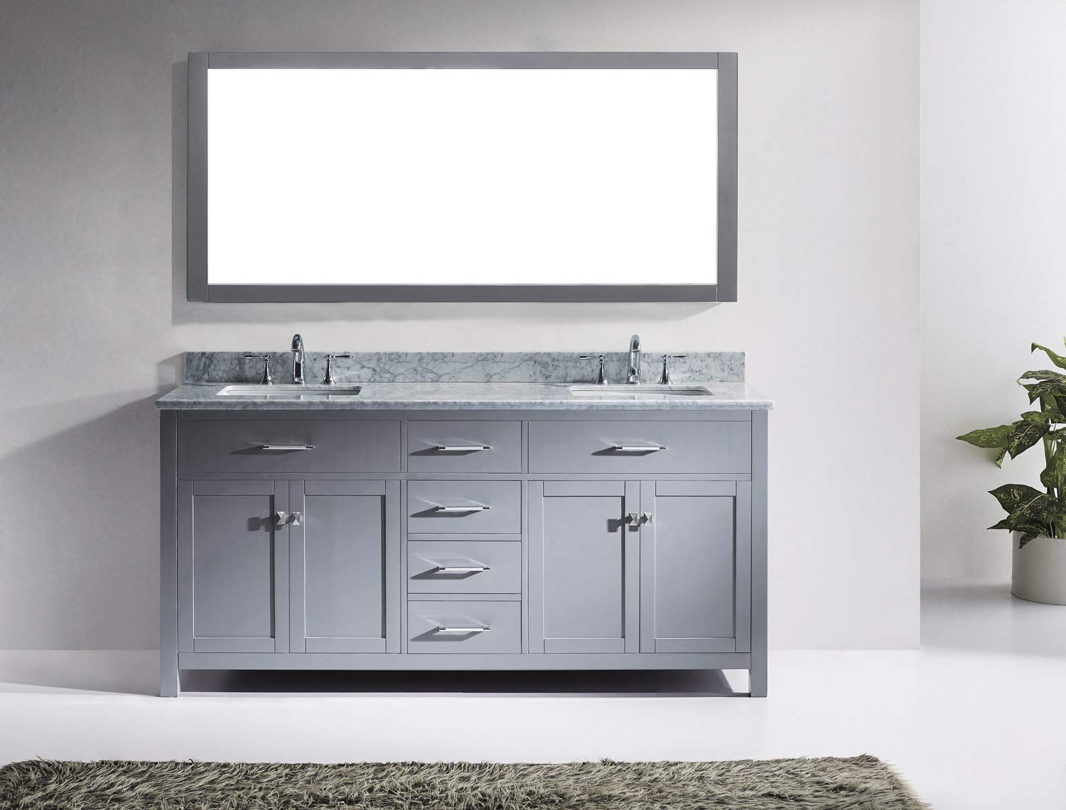 Virtu USA Caroline 72 inch Double Sink Bathroom Vanity Set in Grey w/ Square Undermount Sink, Italian Carrara White Marble Countertop, No Faucet, 1 Mirror - MD-2072-WMSQ-GR