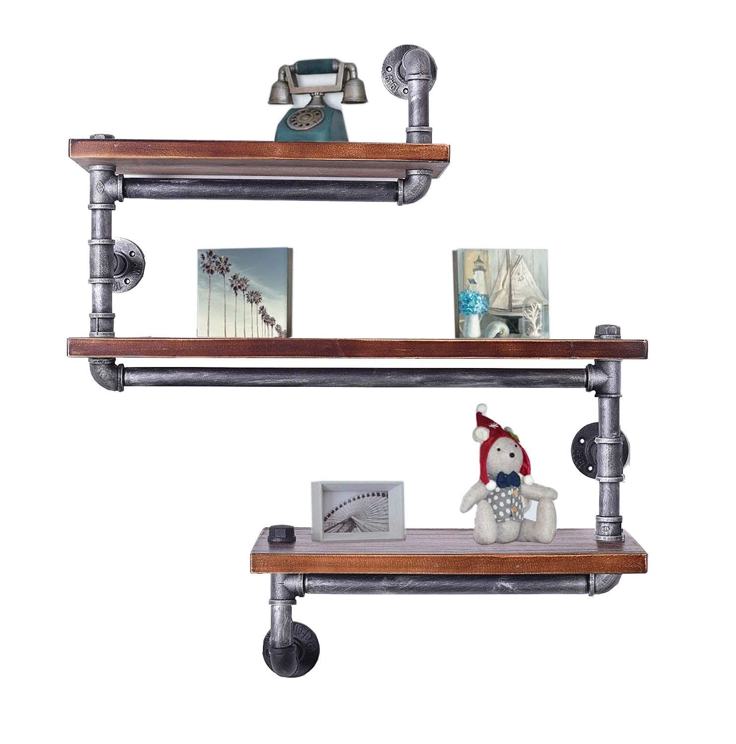 Diwhy Industrial Pipe Shelving Bookshelf Rustic Modern Wood Ladder Pipe Wall Shelf 3 Tiers Wrought IronPipe Design Bookshelf DIY Shelving(Dia 32mm,Weight:30lb) (Black Brush Silver Tube)