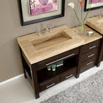 "Silkroad Exclusive HYP-0218-T-56 Stone Top Single Sink Bathroom Vanity with Modern Furniture Cabinet, 56"", Dark Wood"
