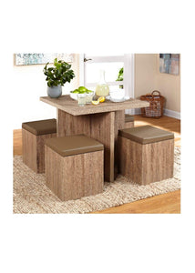 Simple Living 5-piece Baxter Dining Set with Storage Chair Ottomans (Taupe)