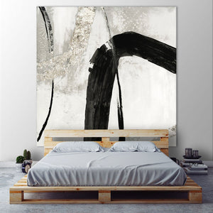 Giant Art Black Ink II Huge Contemporary Abstract Giclee Canvas Print for Office Home Wall Decor Stretcher, 72 x 72