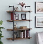 Homissue 4-Shelf Rustic Pipe Shelving Unit, Metal Decorative Accent Wall Book Shelf for Home or Office Organizer, Retro Brown