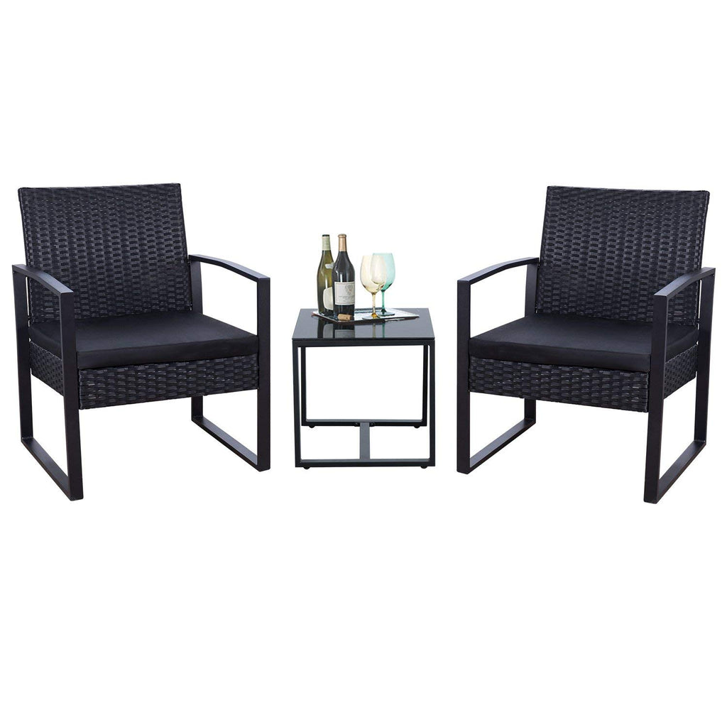 Flamaker 3 Pieces Patio Set Outdoor Wicker Patio Furniture Sets Modern Bistro Set Rattan Chair Conversation Sets with Coffee Table (Black)