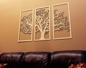 Skyline Workshop Tree of Life 3D Maple - 3 Panel Wood Wall Art - Beautiful Living Room Decor
