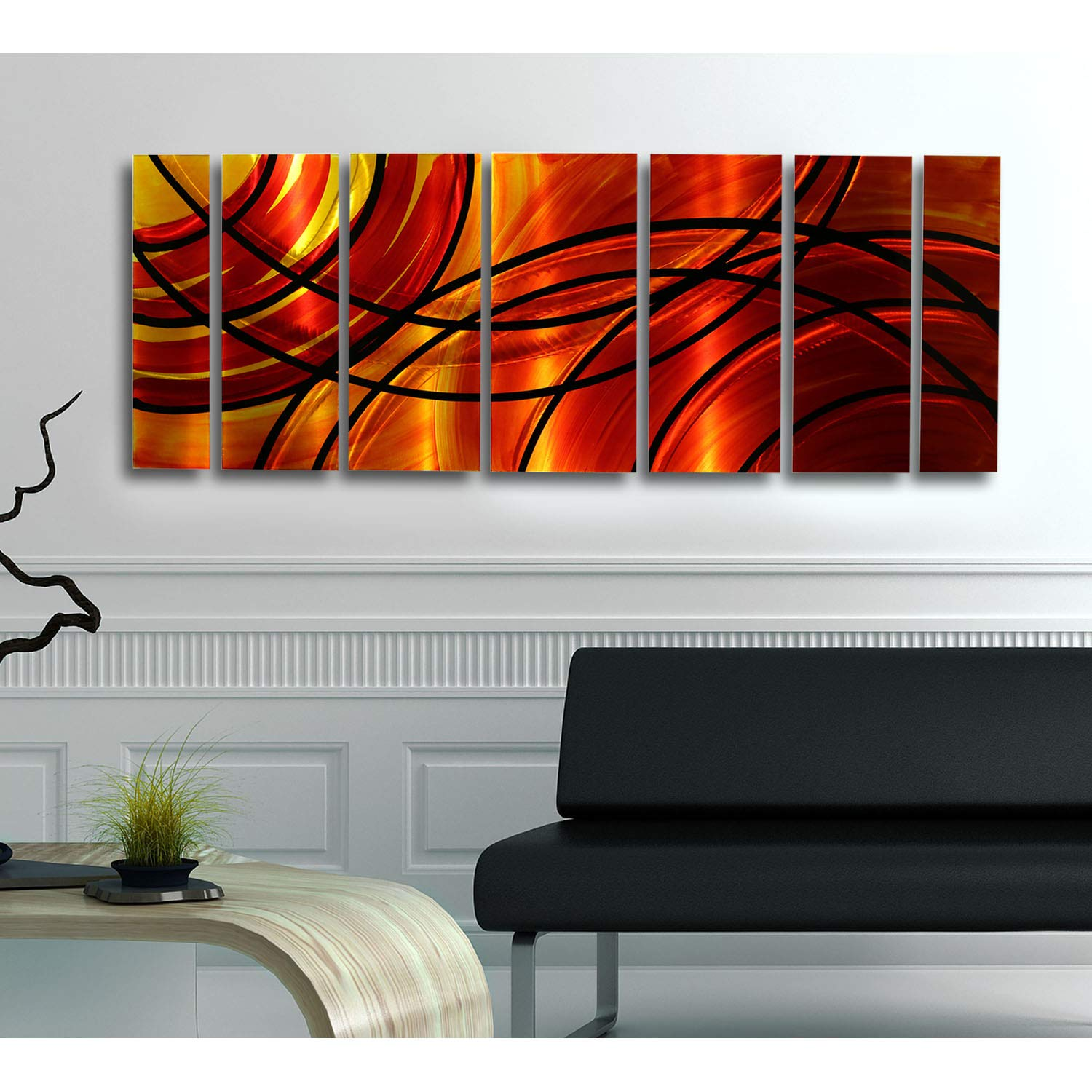 Red, Orange, Gold & Black Abstract Metal Wall Art Painting - Contemporary Handcrafted Home Decor Art Sculpture - Bound By Fire By Jon Allen