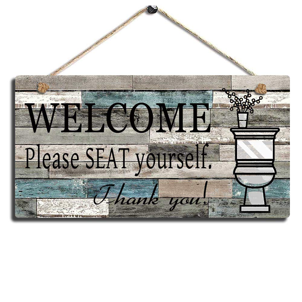 "Smarten Arts Printed Wood Plaque Sign Wall Hanging Welcome Sign Please Seat Yourself Wall Art Sign Size 11.5"" x 6"" (Blue-Black)"