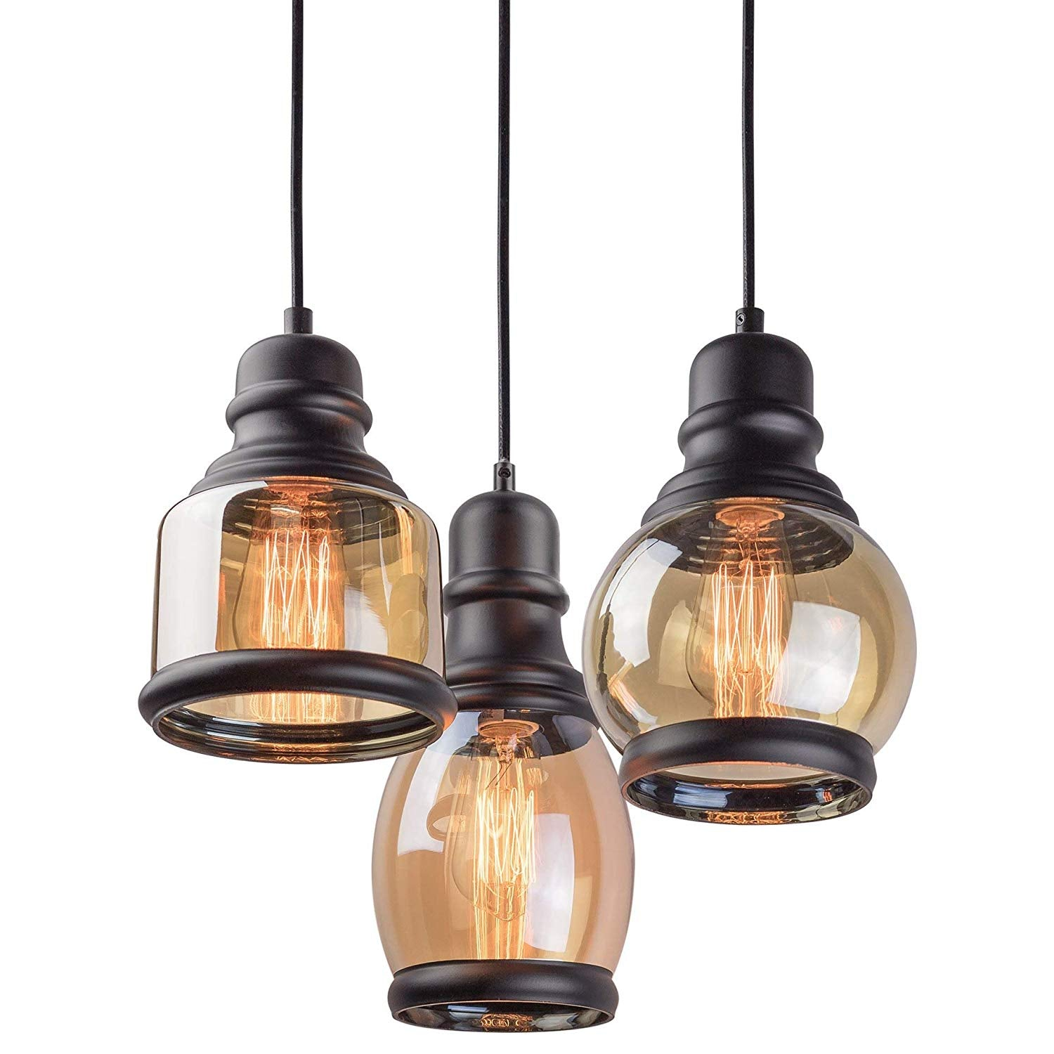 "Kira Home Hudson 11.5"" Vintage 3-Light Multi-Pendant Chandelier, Antique Jar Shades with Tinted Glass, Adjustable Corded Pendant, Matte Black Finish"