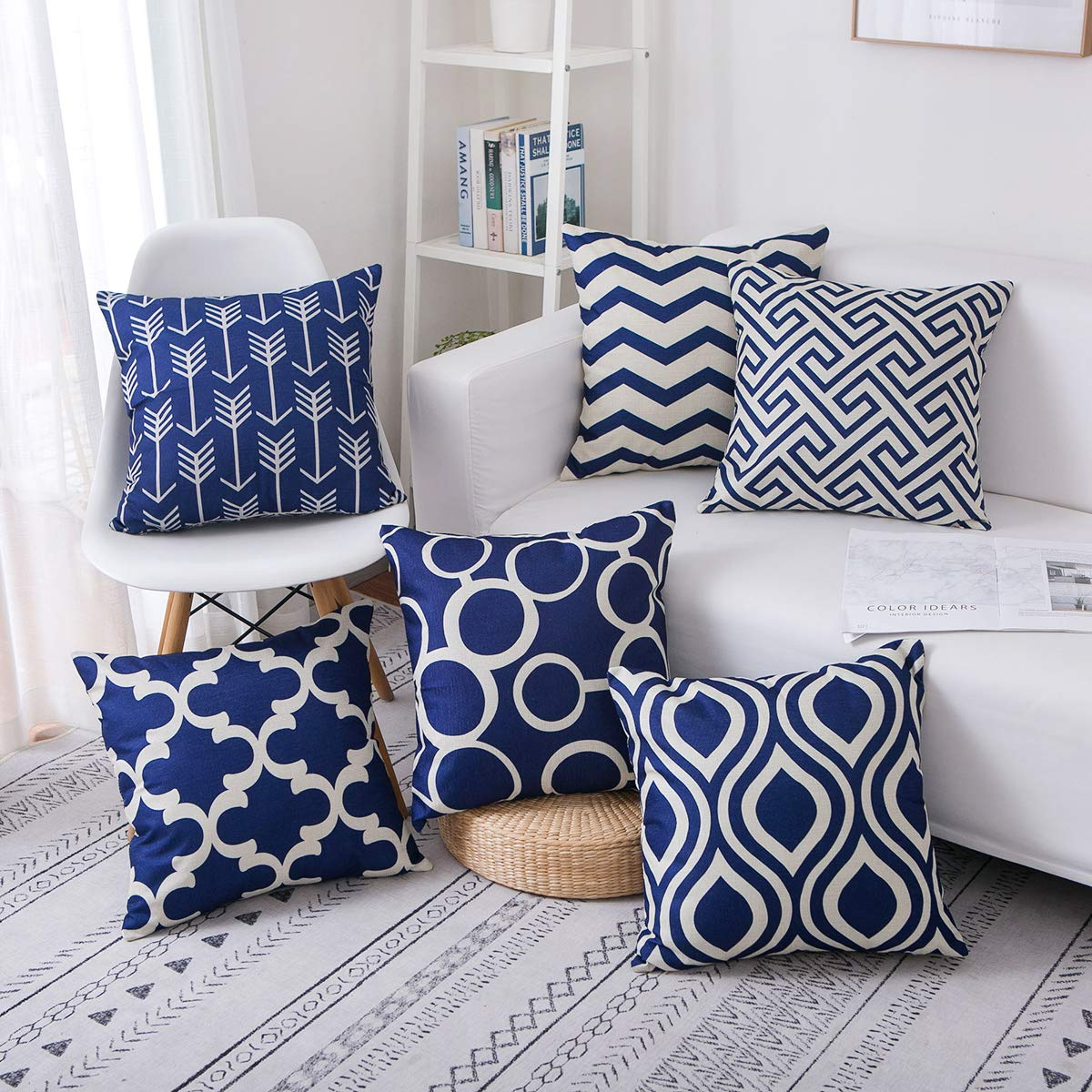 famibay Set of 6 Linen Burlap Pillow Covers Modern Double-Sided Printing Throw Pillow Cases Decorative Cotton Linen Pillow Cushion Covers Set 18X18 Inch Navy