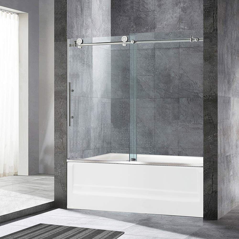 "WOODBRIDGE MBSDC6062-C Frameless Sliding Bathtub 56""-60"" Width, 62"" Height, 3/8"" (10 mm) Clear Tempered Glass Finish, C-Series: 60""x62"", Chrome, 60"" x 62"" III"