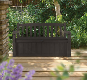 Keter 213126 Eden 70 Gallon All Weather Outdoor Patio Storage Garden Bench Deck Box, Brown