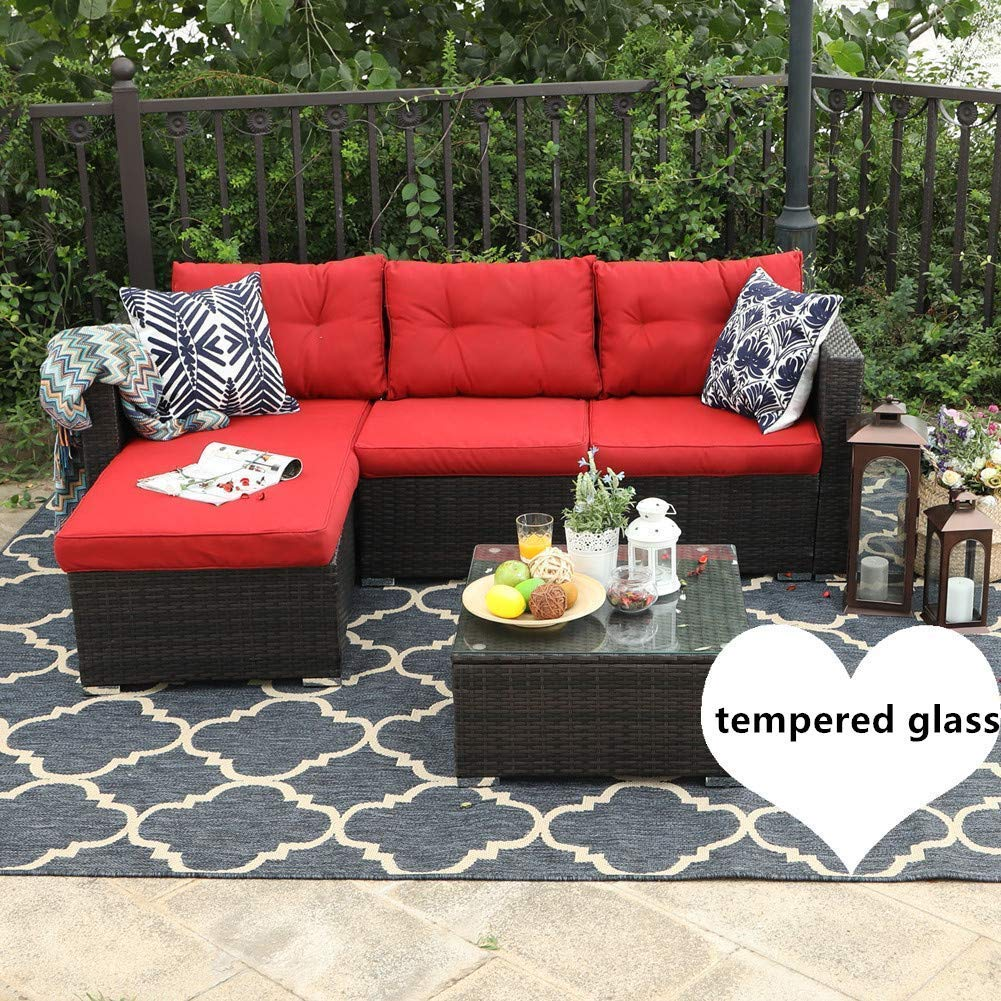 PHI VILLA 3-Piece Outdoor Rattan Sectional Sofa- Patio Wicker Furniture Set (red)