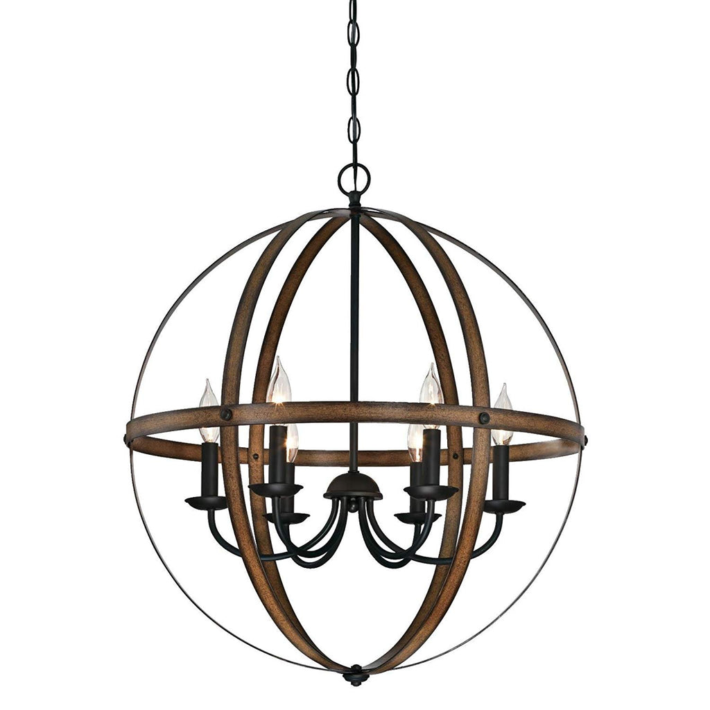 Westinghouse Lighting 6333600 Stella Mira Six-Light Indoor Chandelier, Barnwood and Oil Rubbed Bronze Finish Barnwood & Oil