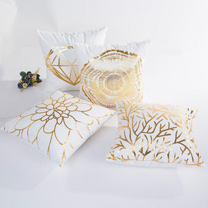 Pillow Case,Bokeley Cotton Linen Square Gold Foil Printing Decorative Throw Pillow Case Bed Home Decor Cushion Cover (A)