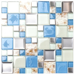 New Idea Tile Kitchen Bath Backsplash Accent Wall Decor TST Glass Metal Tile Marine Animals Icon Beach Style Inner Conch Sea Blue Mosaic Tiles TSTNB11 (1 Sample 12x12 Inches)