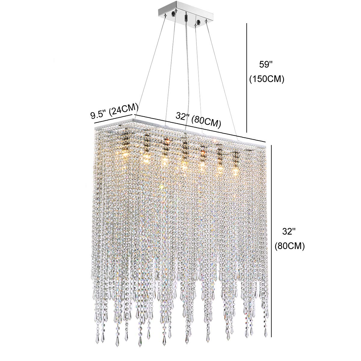 "7PM Modern Rectangle Island Crystal Chandelier Pendant Lamp Light Fixture 7 Lights Required for Dining Room Kitchen Flush Mount L32"" x W9.5"" x H32"""