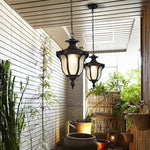 Chandelier Outdoor Waterproof Chandelier, Patio, Hallway, Aisle, Balcony, Garden, Gazebo, Vintage Outdoor Chandelier E27 Light Source (Color : Black)