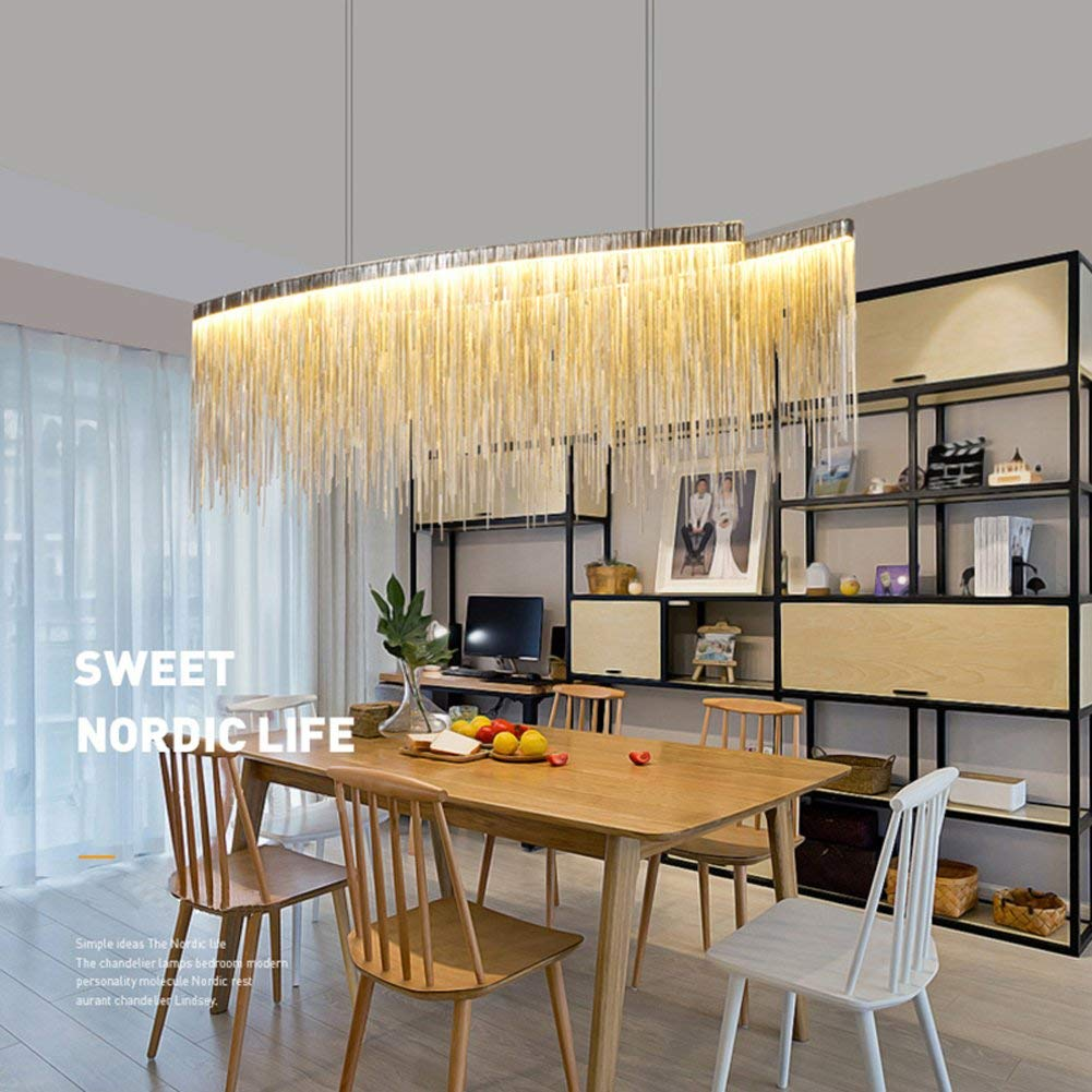 "7PM W47"" x H14"" Modern Linear Aluminum Chandelier Light Pendant Lamp Modern Contemporary Chandelier Lighting Fixture for Dining Room Over Table"