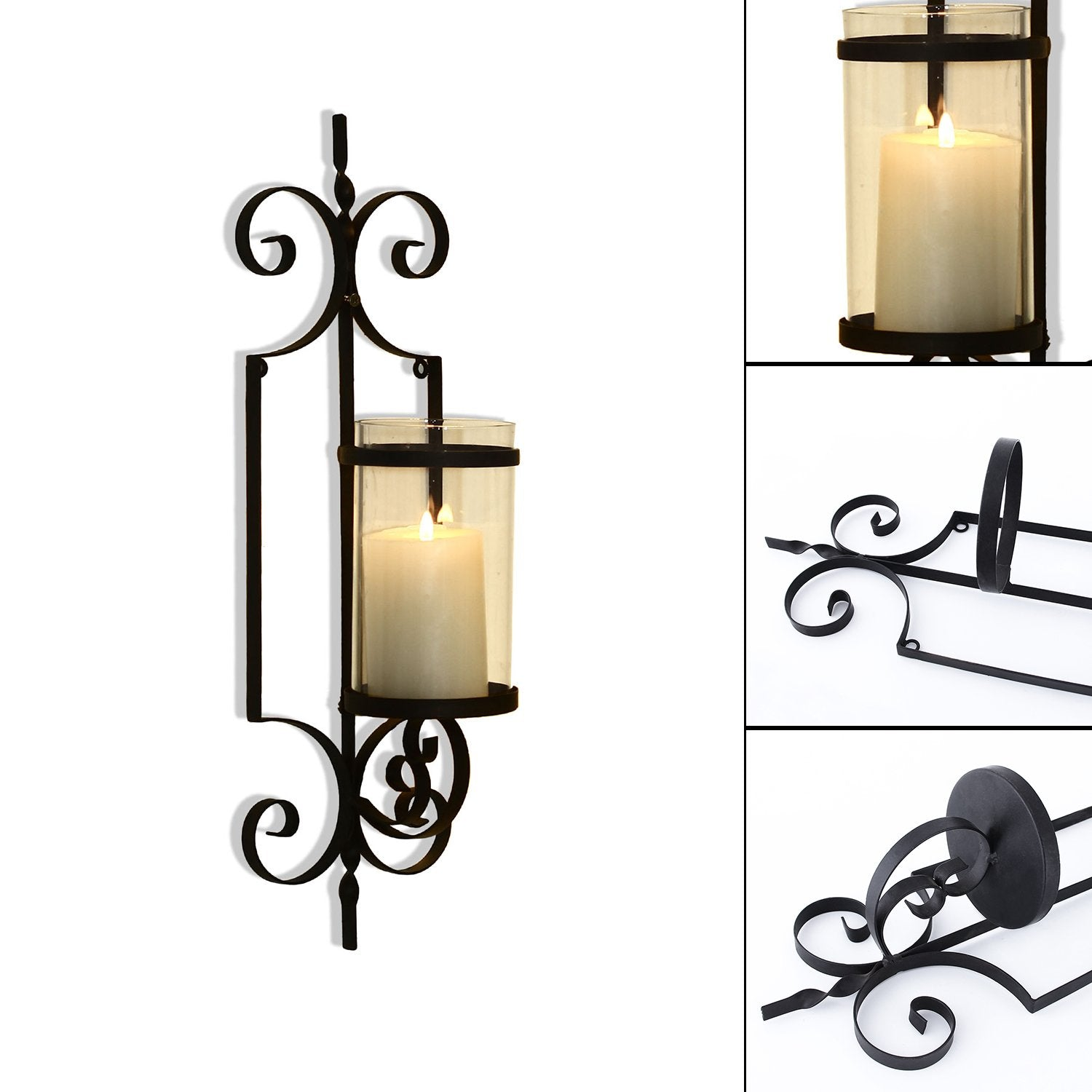 FrameArmy Cast Iron Vertical Wall Hanging Accents Candle Holder Sconce (Set of 2)