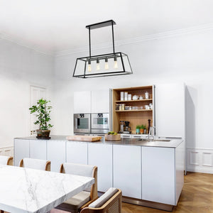Light Society Morley 4-Light Kitchen Island Pendant, Matte Black Shade with Clear Glass Panels, Modern Industrial Chandelier (LS-C104)