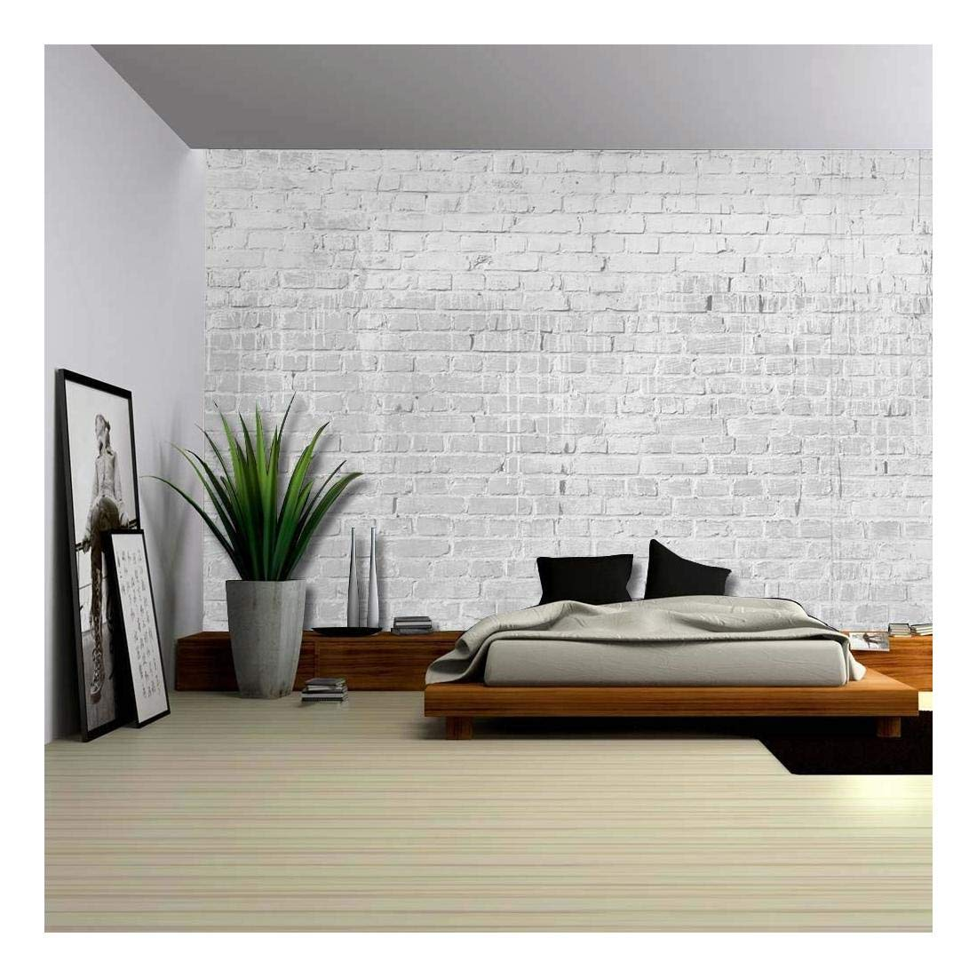 wall26 - Gray and Grungy Brick Wall with Dripping White Paint - Wall Mural, Removable Wallpaper, Home Decor - 100x144 inches