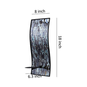 Whole Housewares 8 x 18 Inches Decorative Metal Wall Candle Sconce - Mosaic Glass Set of 2(Blue/Brown)