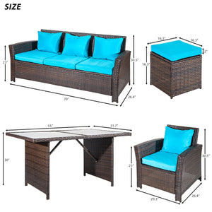 Merax 6-Piece Patio Furniture Dining Set Outdoor Living Wicker Sofa Set (Blue Cushion)
