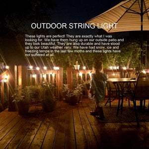 Sunsgne 20Ft Outdoor Patio String Lights with 20 Clear Edison ST40 Bulbs(Plus 1 Extra Bulb), UL Listed C9 Light String for Backyard, Deckyard, Party, Pergola, Bistro, Porch, Pool Umbrella, Brown Wire