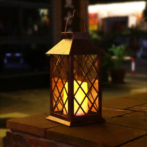 TAKE ME Solar Lantern,Outdoor Garden Hanging Lantern-Waterproof LED Flickering Flameless Candles Mission Lantern for Table,Outdoor,Party
