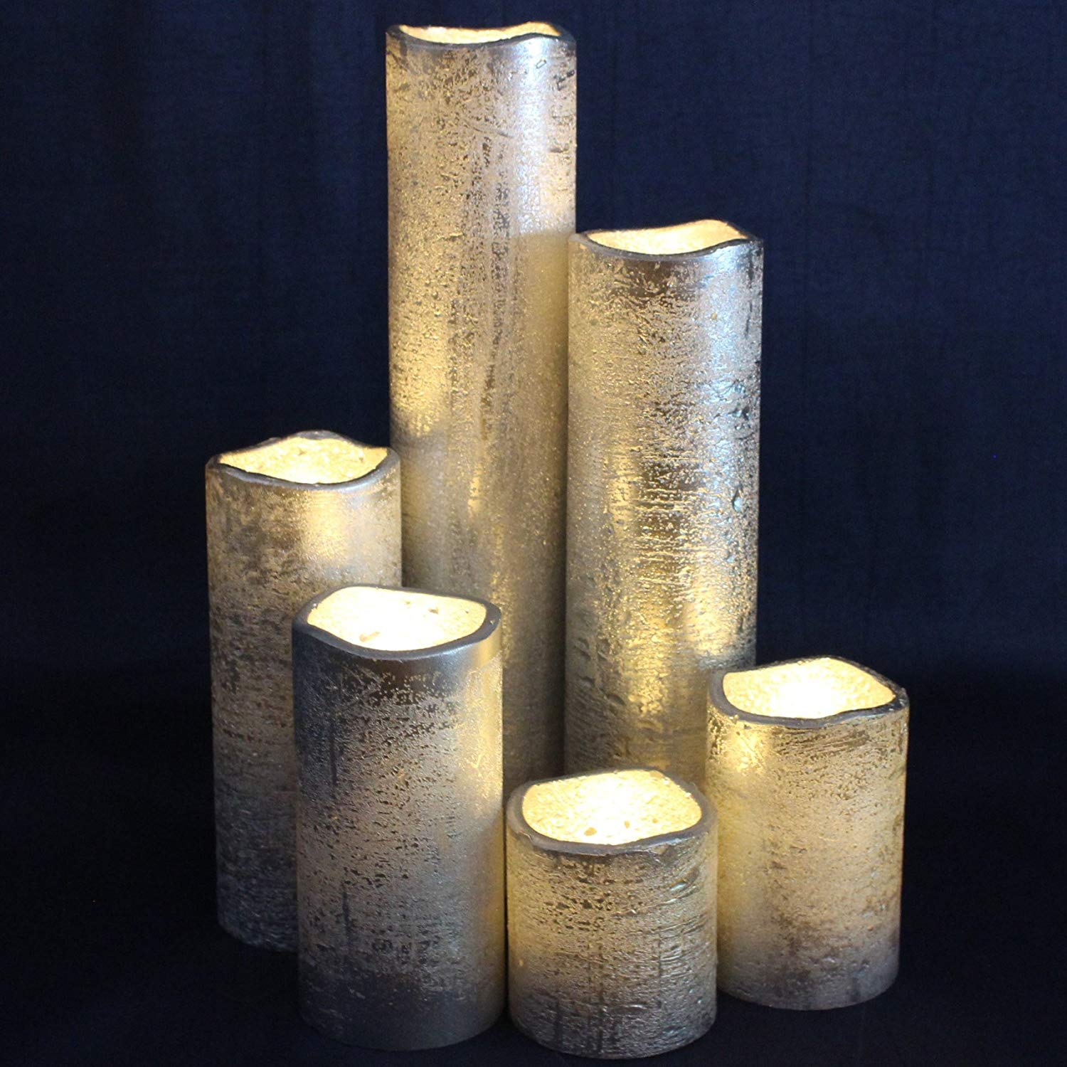 "LED Lytes Flameless Timer LED Candles Slim Set of 6, 2"" Wide and 2""- 9"" Tall, Silver Coated Wax and Flickering Warm White Flame for Home and Wedding Decor"