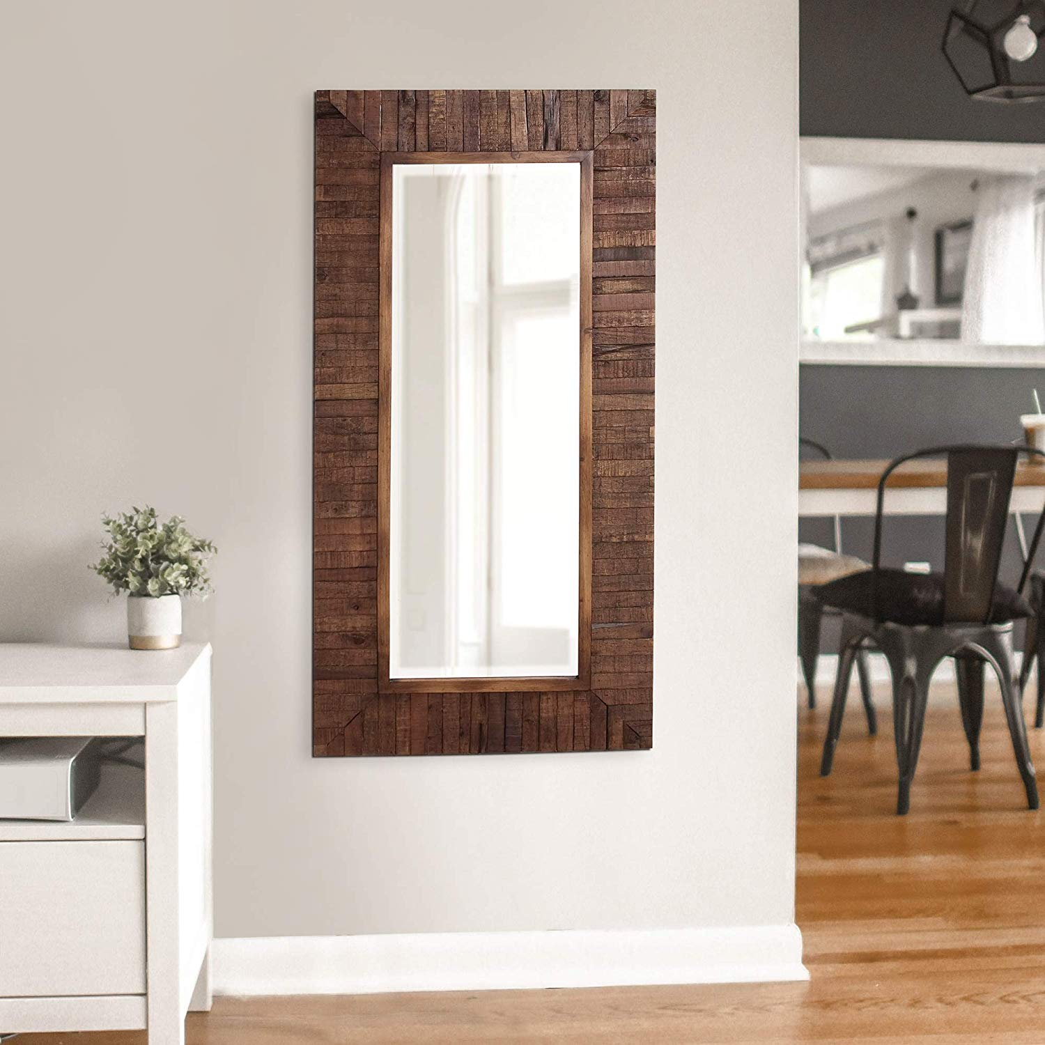 Howard Elliot Timberlane Rustic Mirror, Walnut Finished Wood Frame Accent Mirror