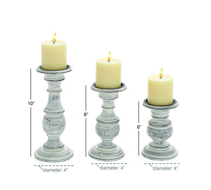 "Deco 79 Distressed White Wood Candle Holders with Spiked Candle Plates, Traditional Style Table Decor, White Candlesticks Accent Decor | Set of 3: 4"", 6"", 8"""