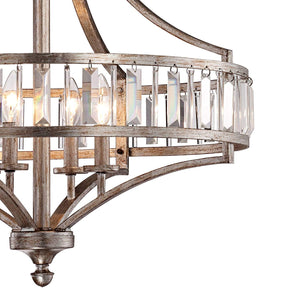 "Soft Silver 4-Light 24"" Wide Crystal Chandelier - Vienna Full Spectrum"