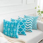 Yumin Blue Throw Pillow Cases Decorative Soft Geometric Style Throw Pillow Cover Cushion Case for Sofa 18 x 18 Inch Set of 4