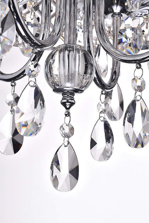 Edvivi Marya 4-Lights Chrome Round Crystal Chandelier Ceiling Fixture | Beaded Drum Shade