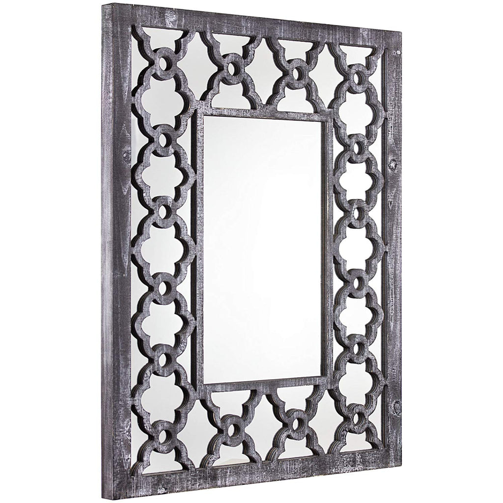 "American Art Decor Rustic Gray Trellis Wall Vanity Accent Mirror (36"" H x 27.5"" L x 1.75"" D)"
