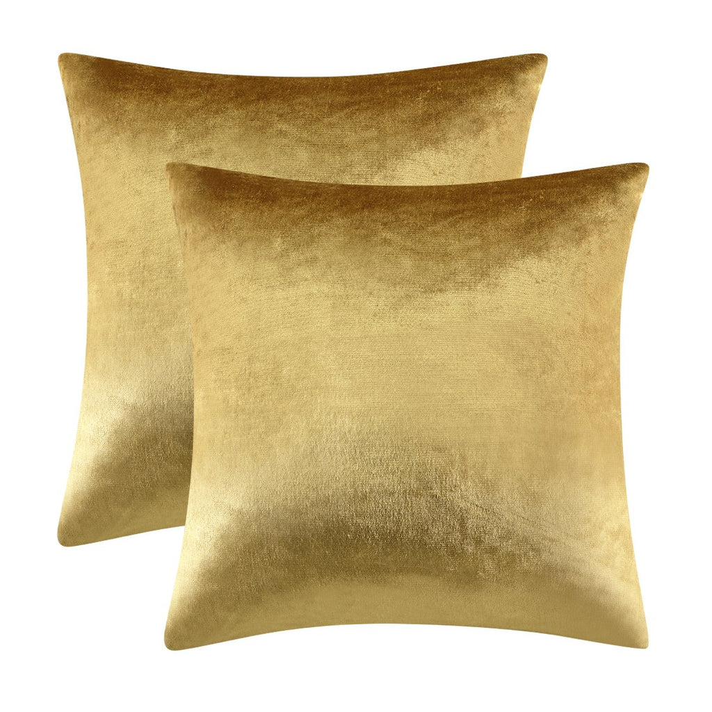 GIGIZAZA Gold Velvet Decorative Throw Pillow Covers for Sofa Bed 2 Pack Soft Cushion Cover (Gold, 18 x 18- Set of 2)