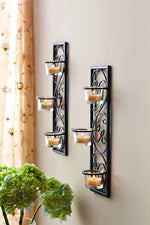 "Hosley Set of Two 13.75"" High Black Iron Tealight Wall Sconce. Handmade by Artisans. Ideal Gift for Wedding, Party, LED Votive Candle Gardens, Spa, Reiki O3"