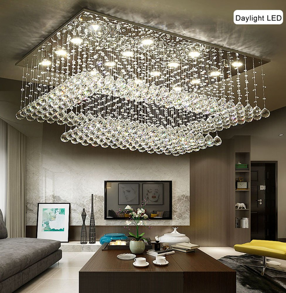 "Siljoy Modern Contemporary Crystal Rectangular Chandelier for Living Room Flush Mount Ceiling Lighting Fixture, H14""xW36""xDepth24"", 16 Daylight LED Bulbs"