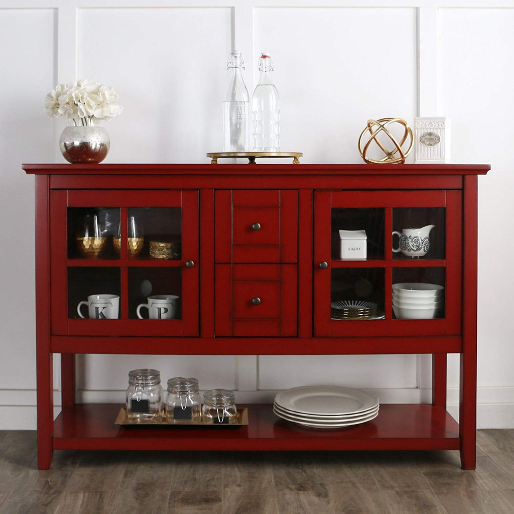 "WE Furniture 52"" Console Table Wood TV Stand Console, Red"