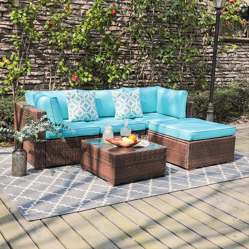 OC Orange-Casual 5 Piece Outdoor Furniture Sectional Sofa, Patio Brown PE Rattan Wicker Sofa with Turquoise Cushions & Modern Glass Coffee Table & Ottoman, Garden, Backyard, Pool