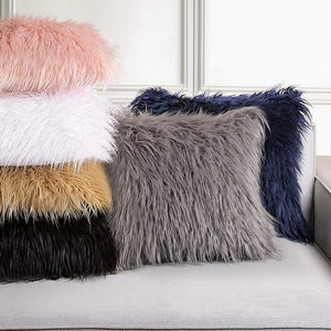 Ashler Pack of 2 Decorative Luxury Style Pink Faux Fur Throw Pillow Case Cushion Cover 18 x 18 Inch 45 x 45 cm