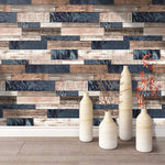 "HaokHome 171102 Distressed Faux Wood Plank Wallpaper Panels Brown/Tan/Jeans Blue for Home Kitchen Accent Wall Decor 20.8""x 33ft"