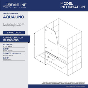 DreamLine Aqua Uno 34 in. W x 58 in. H Frameless Hinged Tub Door in Brushed Nickel, SHDR-3534586-04