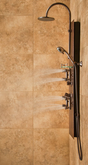 "PULSE ShowerSpas 1016 Mojave ShowerSpa Panel with 8"" Rain Showerhead, 8 Body Spray Jets, 5-Function Hand Shower, Glass Shelf and Tub Spout, Hand Hammered Copper with Oil Rubbed Bronze Finish"
