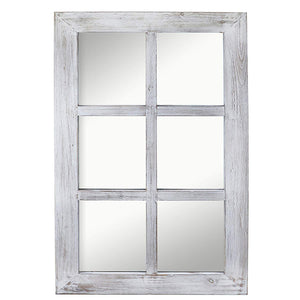 "Barnyard Designs Decorative Windowpane Mirror Rustic Farmhouse Distressed Wood Vertical Hanging Mirror Wall Decor 40"" x 24"""