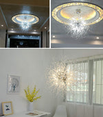 GDNS Chandeliers Firework LED Light Stainless Steel Crystal Pendant Lighting Ceiling Light Fixtures Chandeliers Lighting,Dia 31.5 Inch