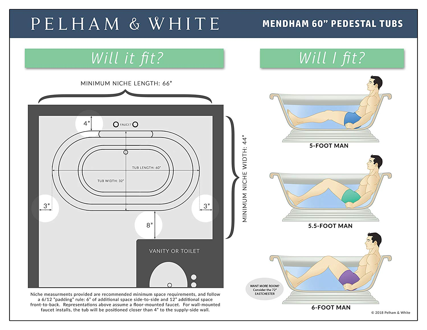 Luxury 60 inch Freestanding Tub with Vintage Tub Design in White, Includes Pedestal Base and Brushed Nickel Drain, from the Mendham Collection